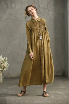 This Golden Linen Shirt Dress Drop Shoulder Linen Dress Maxi is just one of the custom, handmade pieces you'll find in our t-shirts shops. Backless Maxi Dresses, White Maxi Dresses, Linen Dresses, Women's Dresses, Casual Dresses, Work Dresses, Short Beach Dresses, Dress Long, Linen Shirt Dress