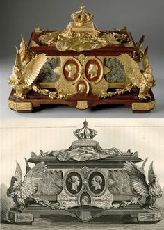 Charles-Guillaume Diehl (1811 – 1885), Princess Mathilde 's jewellery Box with imperial emblems. Chateau of Compiègne. Realized at the occasion of the World's Fair of 1867. This bluish marble casket adorned with gilded bronzes was considered the greatest master piece of the Fair, perfect in conception, composition and execution. The portraits of the Emperor, Empress and imperial prince are gilded bronze on antique red marble. Photo (C) RMN-Grand Palais (domaine de Compiègne) / Daniel…