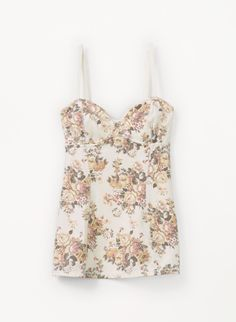 A pretty bustier tank with a vintage-inspired floral print.