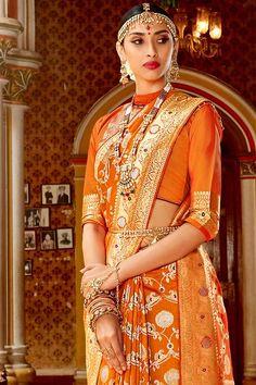 Blouse Online, Sarees Online, Silk Sarees With Price, Orange Saree, Yellow Art, Indian Heritage, Saree Look, Orange Fabric, Wedding Sutra