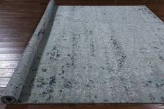 Modern Light Blue All Over Design 9'x12' Wool & Silk Hand Knotted Area Rug H8781