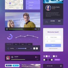 Flat Purple Tone Web UI Elements Kit - http://www.welovesolo.com/flat-purple-tone-web-ui-elements-kit/