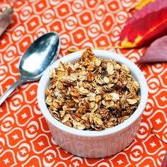 Molasses Granola: oil-free and lower-sugar, added 2T erythritol, cut baking time in half, burned edges before end of baking time
