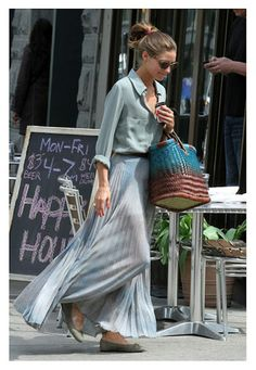 Olivia Palermo long skirt look
