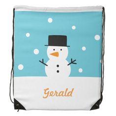 Cute Snowman Winter Snow Christmas Drawstring Bags