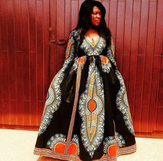 Dashiki Gown/ Dashiki Dress/ African Prom Dress/ by AdinkraExpo