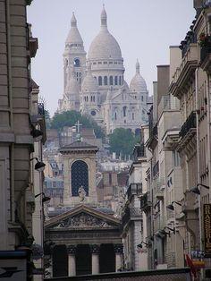The nearby street Rue Lafitte and Notre Dame de Lorette & Basilique du Sacre Coeur beyond