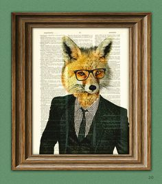 Business Fox Employee of the Month in Suit and Tie and glasses