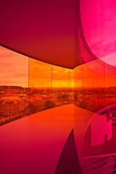 Your Rainbow Panorama @ ARoS Aarhus Kunstmuseum, Denmark by Olafur Eliasson - 4 Aarhus, Orange Architecture, Rose Orange, Orange Yellow, Icelandic Artists, Facade Lighting, Olafur Eliasson, Social Art, Rainbow Art