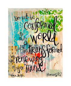 Christian Gift. Scripture Wall Art. Bible Verse Art. Christian Art. Be transformed. Romans 12.2