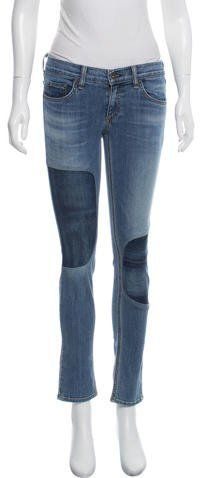 Rag & Bone Denim Patchwork Low-Rise Jeans