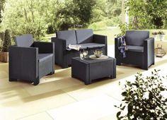 Lounge Set Colorado in braun oder grau verfügbar!  Zeitgemäßes Lounge-Set in Flecht-Optik, aus pflegeleichten…
