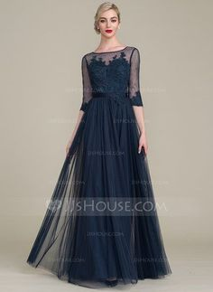 A-Line/Princess Scoop Neck Floor-Length Zipper Up Sleeves 1/2 Sleeves No Dark Navy General Plus Tulle Lace Height:5.7ft Bust:33in Waist:24in Hips:34in US 2 / UK 6 / EU 32 Mother of the Bride Dress