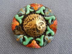 ART DECO MAX NEIGER CHINESE DRAGON /PHOENIX BROOCH PEKING GLASS & ENAMEL VINTAGE