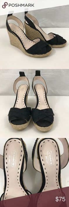 """NWOT Coach """"Hanna"""" black wedges Coach """"Hanna"""" black fabric and leather wedge sandals. Back strap is leather and criss cross over toe is fabric. No ankle straps, but there is a loop where a ribbon can be used. 3/4"""" platform. Full heel: 4.5"""". Heel without platform: 3.5"""". Coach Shoes Wedges"""