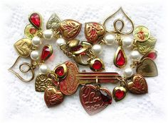 Vintage Ilco Scrolled Key Red Patina Enamel Heart Charm Bracelet by TheVintageHeart