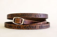 Ecclesiastes 4:12 - Ultra Long Carved Bible Verse Leather Wrap Bracelet
