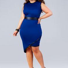 """Beth"" Asymmetrical Dress - Royal - What on Curvymarket.com"