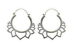 Lotus Hoop earrings- Silver -  Brass earrings-  Yoga jewelry - Carved earrings- Hoop earrings by tribal jewelry wholesale