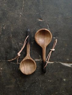 take plain unfinished wooden spoons and stain them walnut