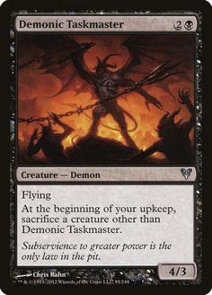 Buy now - Demonic Taskmaster Avacyn Restored - - Creature — Demon - Flying At the beginning of your upkeep, sacrifice a creature other than Demonic Taskmaster. - Subservience to greater power is the only law in the pit. - Art by: Chris Rahn The Valiant, Magic The Gathering Cards, Alternative Art, Magic Cards, Great Power, Wizards Of The Coast, Line Drawing, Game Art, Card Games