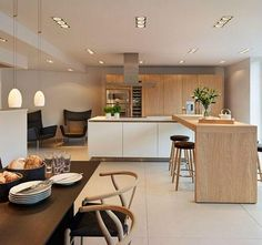 kitchen + dining; island with eating area extension