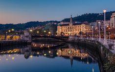 Download wallpapers Bilbao, evening, embankment bridge, Basque Country, Spain