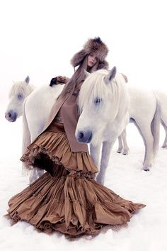 Horses in Bazaar Editorials - Chinese New Year, Year of the Horse Carmen Kass, Horse Fashion, Fashion Shoot, Editorial Fashion, Fashion Models, High Fashion, Women's Fashion, Dress Fashion, Fashion News
