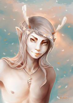 Faun by Yu-koi.deviantart.com on @DeviantArt #faun #prickeared #elfears#elfish#fantasy_character#horns#pagan #heathen #mythological#mythology#creaturefantasy#digitalpainting #enchanted #nature