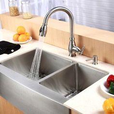 """Kraus Farmhouse 33"""" 60/40 Double Bowl Kitchen Sink"""