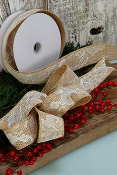 Burlap & Lace Ribbon 1.5in 10yd