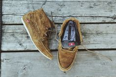 The Hirari moccasin in brown suede.