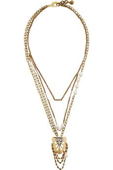 Lulu Frost Gold-tone crystal and freshwater pearl necklace | THE OUTNET