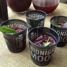 Blueberry Basilito cocktails made with blueberry moonshine at the Midnight Moon tasting for Tales of the Cocktail festival in #nola.