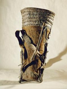 Cowhide knapsack strengthened with strips of wood, and with a wooden stick to make emptying of the sack easier.  Height 90cm. Hallstatt period, 10th/9th cent. BC. Finding place: Salt mine Hallstatt,