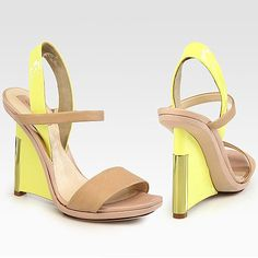 Reed Krakoff Patent Leather and Leather Colorblock Wedge Sandal in Nude-Solar