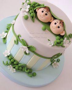 2 peas in a pod birthday christening new baby celebration cake