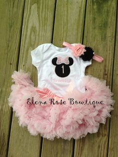 Minnie mouse birthday outfit - pink petti skirt - custom personalized birthday shirt and rosette headband