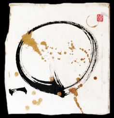 Traditional Japanese calligraphy on handmade paper: Enso: the Zen Circle with metallic watercolor. Edges deckled and painted. Red Seal is Sitting Quietly.