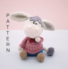 Amigurumi crochet pattern English Don Juan the donkey Amigurumi Doll, Amigurumi Patterns, Knitting Patterns, Crochet Patterns, Crochet Doll Pattern, Crochet Dolls, Double Crochet, Single Crochet, Don Juan