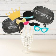 It's not a proper wedding photo booth without fun personalized photo booth props! Get yours easily with this inclusive set. Wedding Photo Booth, Photo Booth Props, Wedding Photos, Wedding Ideas, 13th Birthday Parties, Mustache Party, Marrying My Best Friend, Best Day Ever, Just Married