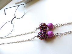 Silver Eyeglass Chain  Berry Bliss  Reading by EyeglassLanyards, $15.99