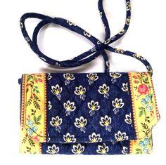 Vera Bradley Wallet Purse Small Crossbody Shoulder Handbag Navy Gold #VeraBradley #MessengerCrossBody