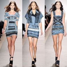 Herve Leger Batik Patchwork Cocktail Dress, $2800 This denim dress is from Herve Leger, so it holds all the promises of uninterrupted lines, bulge-less cur