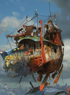 A flying junk heap, but a very cool junk heap at that. Illustration by Ian McQue,http://cghub.com/images/view/70234/