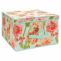 """Canvas storage tote with an ikat floral motif.   Product: Storage boxConstruction Material: CanvasColor: Teal, pink and greenDimensions: 10"""" H x 16"""" W x 16"""" D"""