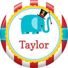 Dress your guests for fun with this unique party favor. Our 1st Birthday Circus Custom Button is designed to coordinate with the lively colors and images found on the Fisher Price 1st Birthday Circus theme. The button can be personalized with your own special wording like the name of each guest or the name of the birthday honoree. The customized button makes a cute favor that family and friends can wear during the party and take home at the end of the festivities. Each button measures 2.25…
