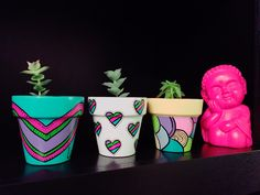 Painted Clay Pots, Painted Flower Pots, Painting Pots, Cactus Clipart, Clay Pot Crafts, Ceramic Pots, School Projects, Potted Plants, Planter Pots