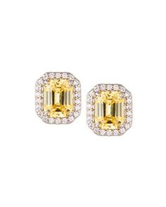 Fantasia White Oval & Canary Emerald-Cut Stud Earrings K9GFxSb