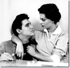 Elvis Presley and Sophia Loren Meet on the King Creole Set, January 1958 - I like to think this is the fourth of five